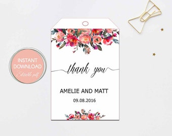 Floral THANK YOU TAGS, Wedding Thank You Tags, Gift Tags, Wedding Favor, Thank You Printable, watercolor Editable Pdf Instant Download #B11