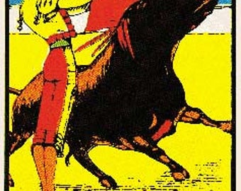Vintage Style Juarez Mexico 1950's border Bullfight matador Decal sticker