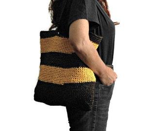 Crochet tote bag, Raffia shopping bag, block colors shoulder bag, chocolate brown and yellow crochet beach bag, vegan mother's day gift