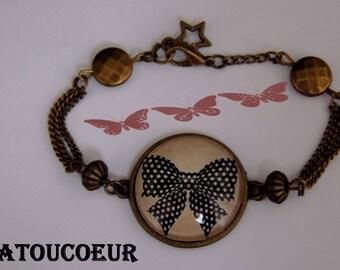 Bracelet/ Cabochon/ Verre/Métal Bronze/Ajustable,Mon Joli Nœud Noir,Vintage.