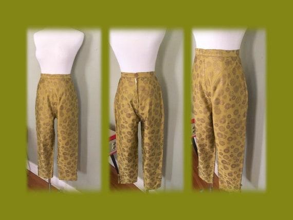 1950s Glamorous High Waist Light Olive Tone Silk Brocade Ankle Length Pants with Side Pockets-S