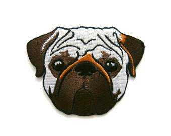 Pug Dog Embroidered Applique Iron on Patch 8 cm. x 6 cm.