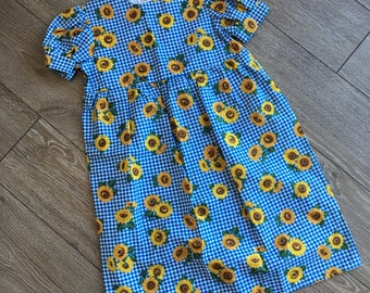Size 6, Little Girl's Sunflower Dress, Girl's Retro Dress, Girl's Dress