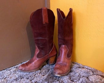 Vintage 70s Womens High Heel Burgundy Leather & Suede Cowboy Boots size 7 M  Reddish Brown