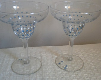 Hand Painted Margarita Glasses, Festive Dots. Set of 2