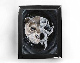 Otter Print, Taxidermy Skull, Animal Bones, Skeleton Print, Fantasy Wall Art, Custom Size, Unique Gift, Life & Death, Gothic Decor
