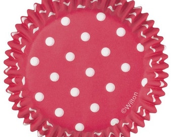 Red Dots Wilton Standard Cupcake Liners Baking Cups Muffin Cups - Red Cupcake Liners