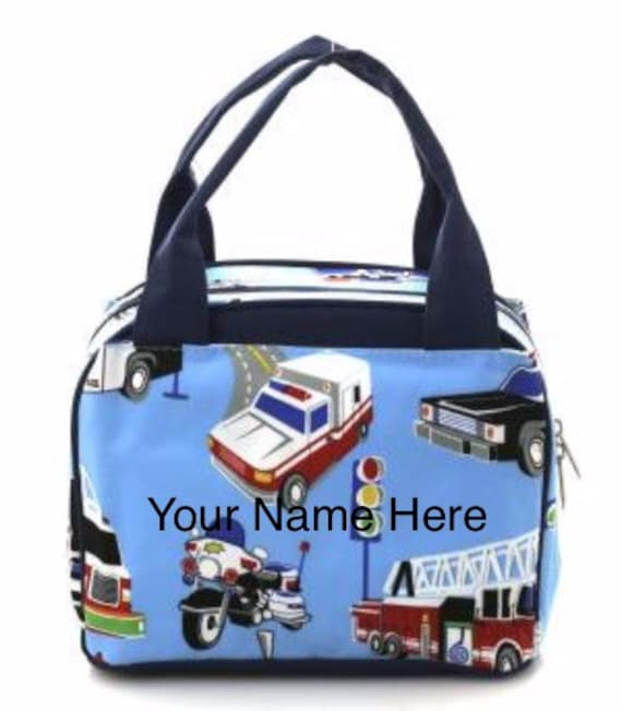 Insulated Lunch Bag Personalized Blue Cars Print
