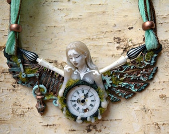 "Steampunk Necklace  ""Time"" one of a kind / Vintage Porcelain Clock Face pendant"