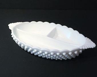 Fenton White Milk Glass Hobnail Divided Relish Serving Dish, Fenton Milk Glass Hobnail Divided Relish Dish Item 472-1, Fenton Candy Dish