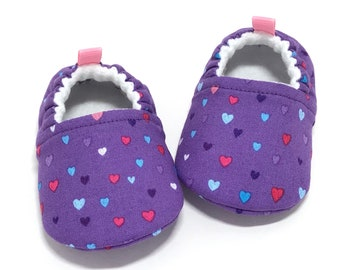 Purple Baby Shoes, Baby shower gift, Heart baby booties, Toddler slippers, baby moccasins, soft sole baby shoes, baby girl shoes, vegan shoe