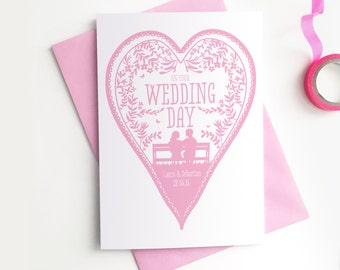 Custom Personalised Wedding Card - Wedding Heart Birds Nature Confetti Rob Ryan Style Papercut Commemorative Customised Greetings Card