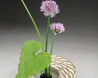 Ikebana Vase with Sculpted Design - Ready to Ship