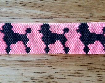 7 1/2 inch Beaded Bracelet. Black Poodles.