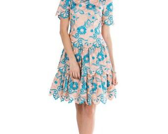 Peach Blue Flower Dress