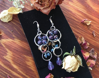Aqua Aura, Sterling Silver, Gemstone Earrings, Gifts for Her, Sacred Adornment, Amethyst, Aqua Aura Earrings