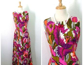 1960s Cotton Dress Exotic Floral print Aloha Authentic Hawaiian Original dress Medium