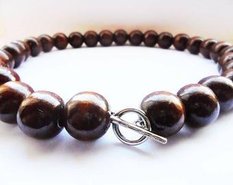 Street Fighter Natural Wood Akuma Prayer Bead Necklace