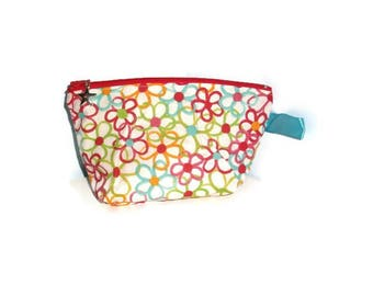 pouch/clutch in cotton with pretty patterns 20 x 12 cm