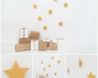 Gold star mobile Nursery decor Nursery mobile Kids wall decor Wall hanging mobile Holiday decor Christmas star decor Wooden mobile