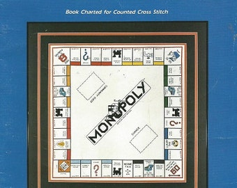 Vintage Counted Cross Stitch Pattern - MONOPOLY - Stitch A Complete GAMEBOARD To Scale - c. 1984 - Chart Only