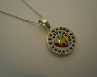 Heart Necklace Bead Mosaic Pendant Sterling Silver Valentine Gift