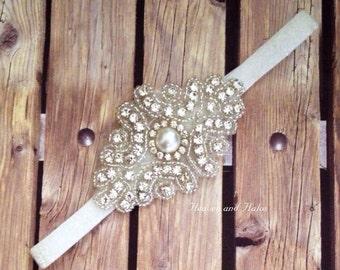 Rhinestone headband, white headband, flower girl headband, wedding headband, dressy headband, formal headband, halo, baby headband,