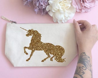 Glitter Unicorn makeup bag- Cosmetic bag- Unique gift- Toiletry bag- large cosmetic bag- Inspirational quote- Personalised bag-Quote bag