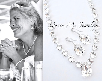 Swarovski Crystal wedding jewelry set Brides crystal jewelry set Wedding Bridal jewelry set Crystal earrings and necklace set  SOPHIA
