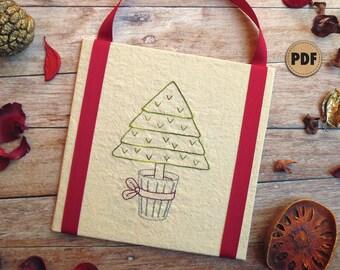 Beginner Embroidery, Christmas Tree Pattern, Christmas DIY Craft, Pine Tree Embroidery Pattern, Digital Download, Fiber Art Wall Hanging