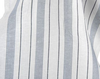 Linen Toweling Fabric by the yard | Cotton Linen | Fabric | Linen Fabric | Cotton Fabric | White | Striped | Cotton Blend Fabric | Toweling