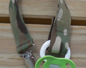 Military Pacifier Holder, US Military MultiCam Fabric Pacifier Holder , Camouflage Fabric Pacifier Holder, Binky Clip
