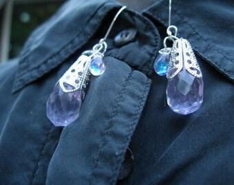 Boucles d'oreilles-à facettes cristal de quartz violet briolette en argent filigrane etsyBead équipe, GTGEU,, paganteam, OlympiaEtsy, HandmadeJewelry