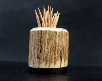 Nice Elk Antler Toothpick Holder, Match Stick Holder,Zircote Wood Base, TP-55