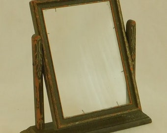 Antique Wooden Swivel Picture Frame, Tilt, Dresser Top, Tabletop, Double Sided, Photograph, Photo, Ornate, Rustic, Farmhouse, Country, Old