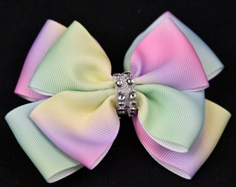 Pastel Rainbow Coloured Double Bow 4in / 10cm