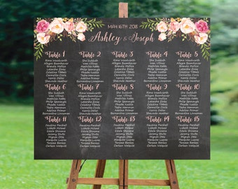 Wedding Seating Chart, Wedding Seating Chart Printable, Wedding Seating Chart Template, Wedding Seating Chart Chalkboard, Ivory & Boho