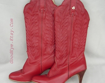 Ladies Red DIVA Western Boots / size 7 m Eu 37 .5UK 4 .5 / Leather Flame Stitched / Rockabilly 80s SKINNY Heel Cowboy Boot