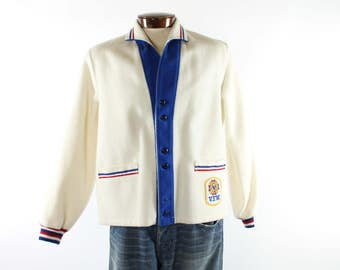 Vintage 50's Varsity Jacket Red White Blue Button Up 1950s Mens Large L Rockabilly Hipster VFW Butwin Coat