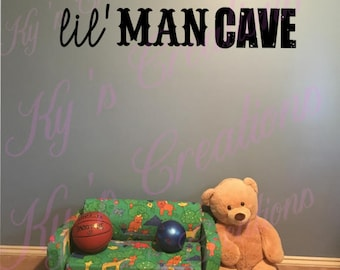 Man Caves Ni : Lil man cave distressed wooden sign with arrow