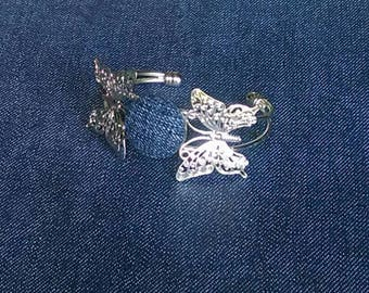 Denim Butterfly Bracelet