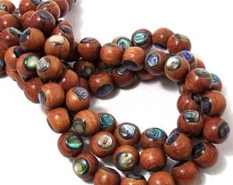 Bayong Wood with Abalone Shell Inlay, 12mm, Round, Smooth, Large, Natural Handmade Artisan Bead, Half Strand, 17pcs - ID 1802