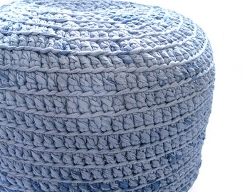 THE JUST RIGHT Crocheted Pouf -ottoman, foot stool, floor pillow - you choose color*