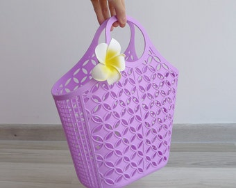 Vintage 80's Kitschy Bubblegum Purple Plastic Jelly Shopping Basket Bag