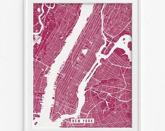 New York Print, New York Poster, New York Map, New York City Print, NYC, Modern Decor, Street Map, Office Decor, Fathers Day Gift