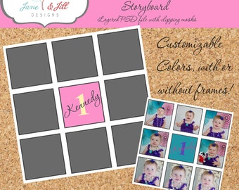 12x12 9-Photo Photoshop Storyboard Collage .PSD file with Layers with Clipping Masks Photographer Template Scrapbook Birthday Wedding