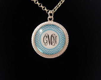 Monogrammed chevron necklace -5 color choices