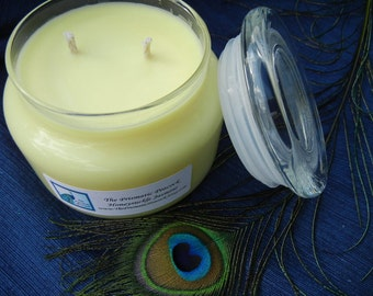 Honeysuckle Jasmine Scented Soy Candle Yellow 12 oz Apothecary Jar