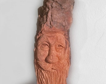 Alaskan Wood Spirit made from Cottonwood Bark, Perfect Gift for the home for any occasion, Carving made in Alaska, Fathers day Holiday Decor