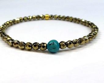 Turquoise Bracelet/ Turquoise and Pyrite Beaded Bracelet/ Beaded Bracelet/ Genuine Turquoise and Pyrite Bracelet